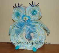 boy diaper owl in blue with big blue bow