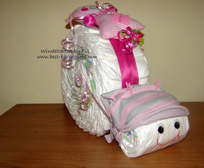 pink diaper snail, the pink ribbon between the snail's body and the snail's head is clearly visible