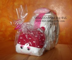 a diaper snail with a red hat, cutely wrapped in clear foil