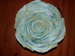 finished snail  shell, lots of rolled diapers, with inner all filled up with diapers