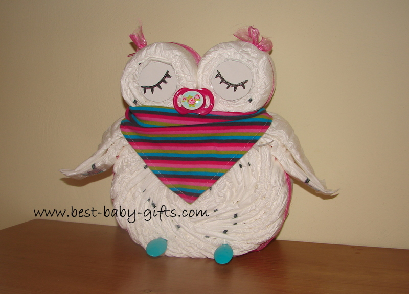 sleeping girl diaper owl with baby scarf in pink, green, brown