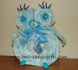 blue homemade diaper owl with pacifier and big bow