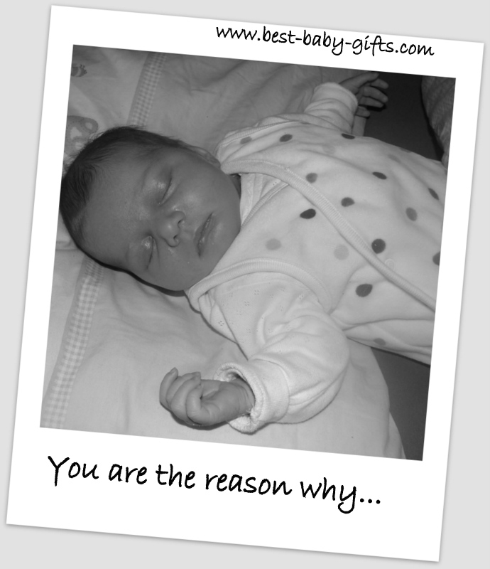 sleeping baby, black and white photo with text 'you are the reason why...'
