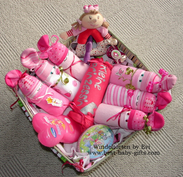 Newborn baby gift baskets how to make a unique baby gift beautiful girl baby gift basket negle Choice Image