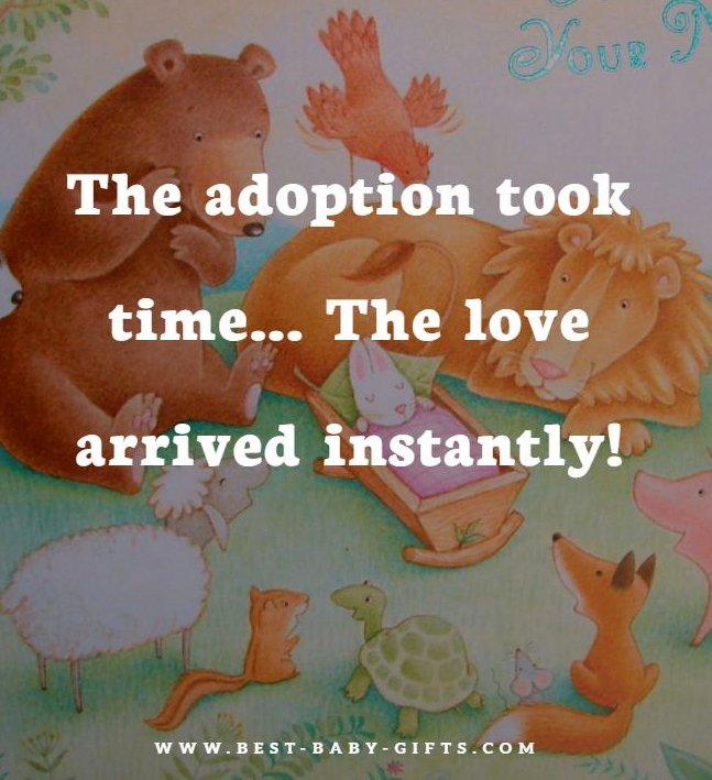 painted wildlife animals gathering around a baby rabbit in a cot with text: The adoption took time... the love arrived instantly.