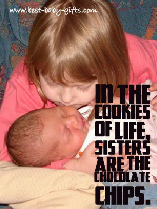 toddler girl cautiously holding and kissing her newborn sister with siblings quote