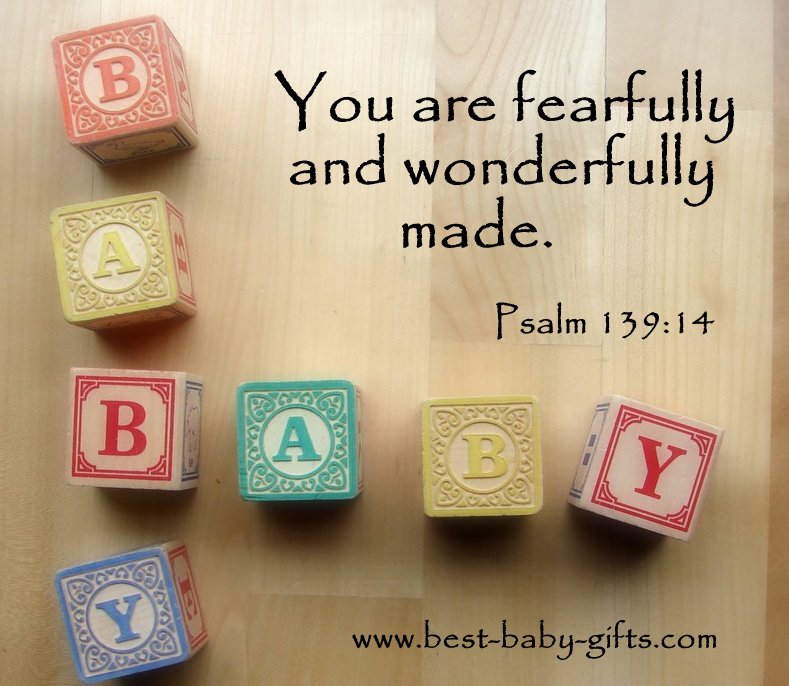 wooden baby blocks saying 'baby' and psalm 139:14