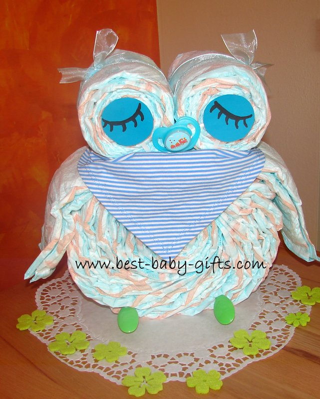 sleeping diaper owl with blue and white baby scarf