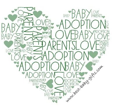a green heart formed of different words such as baby, adoption, love, parents, etc.