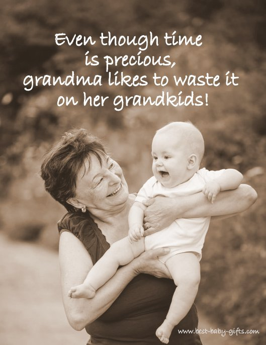 laughing grandma holding her grandchild, both having fun together, with baby quote