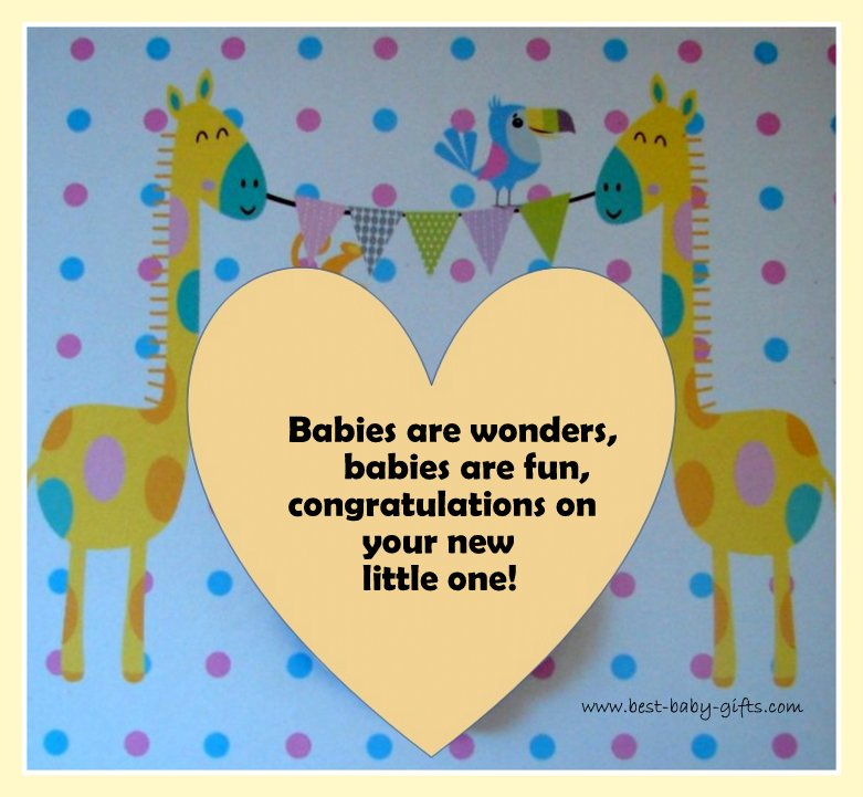colorful baby congratulations card with animals and polka dots
