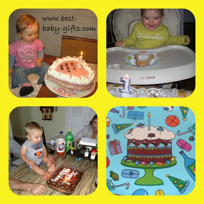 4 separate  photos: 3 babies sitting in front of a cake and celebrating their first birthday, 4th photo shows a painted cake with a birthday candle