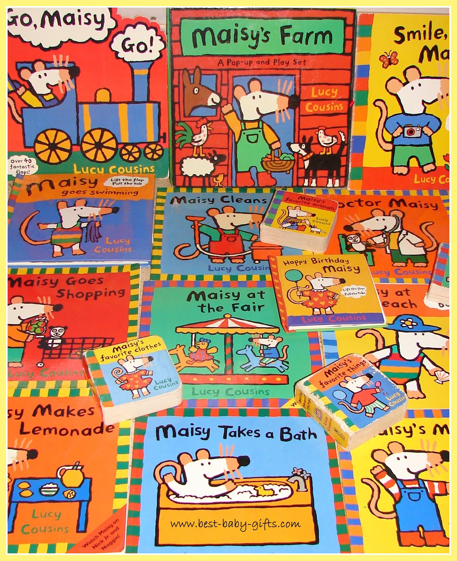 lots of Maisy board book covers, all laid out
