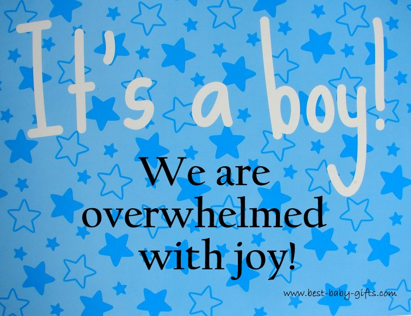 light blue background with turquoise stars, text saying: it's a boy, we are overwhelmed with joy!