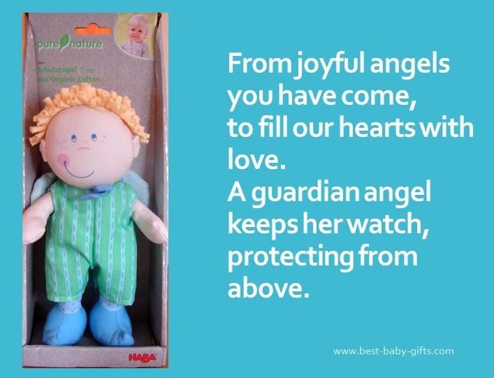a boy guardian angel doll with blonde hair on the left side wearing a green jumpsuit and blue shoes and a poem about a guardian angel on the right side