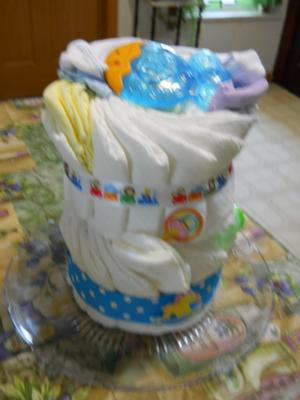 small diaper cake made from leftovers