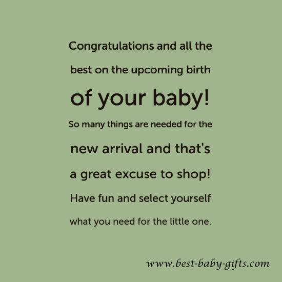in your congratulations card for the new baby if you give a gift card