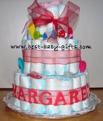Diaper cake gallery photo gallery of homemade diaper cakes personalized girl diaper cake reheart Choice Image