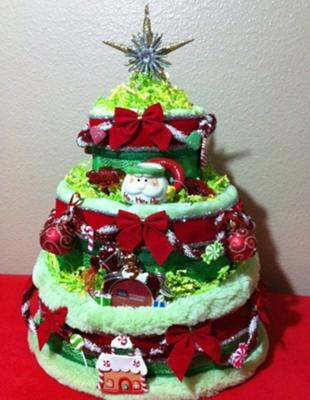 Christmas Tree Diaper Cake