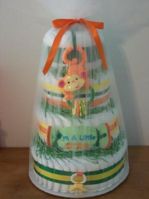 Four Tiered Diaper Cake - Rainforest Theme
