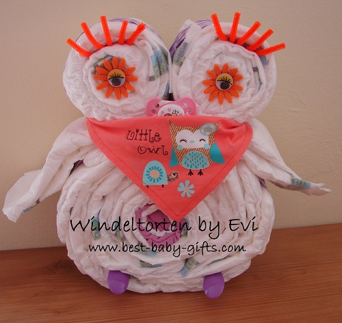 girl diaper owl in orange with orange baby scarf with owl printed on and text 'little owl'