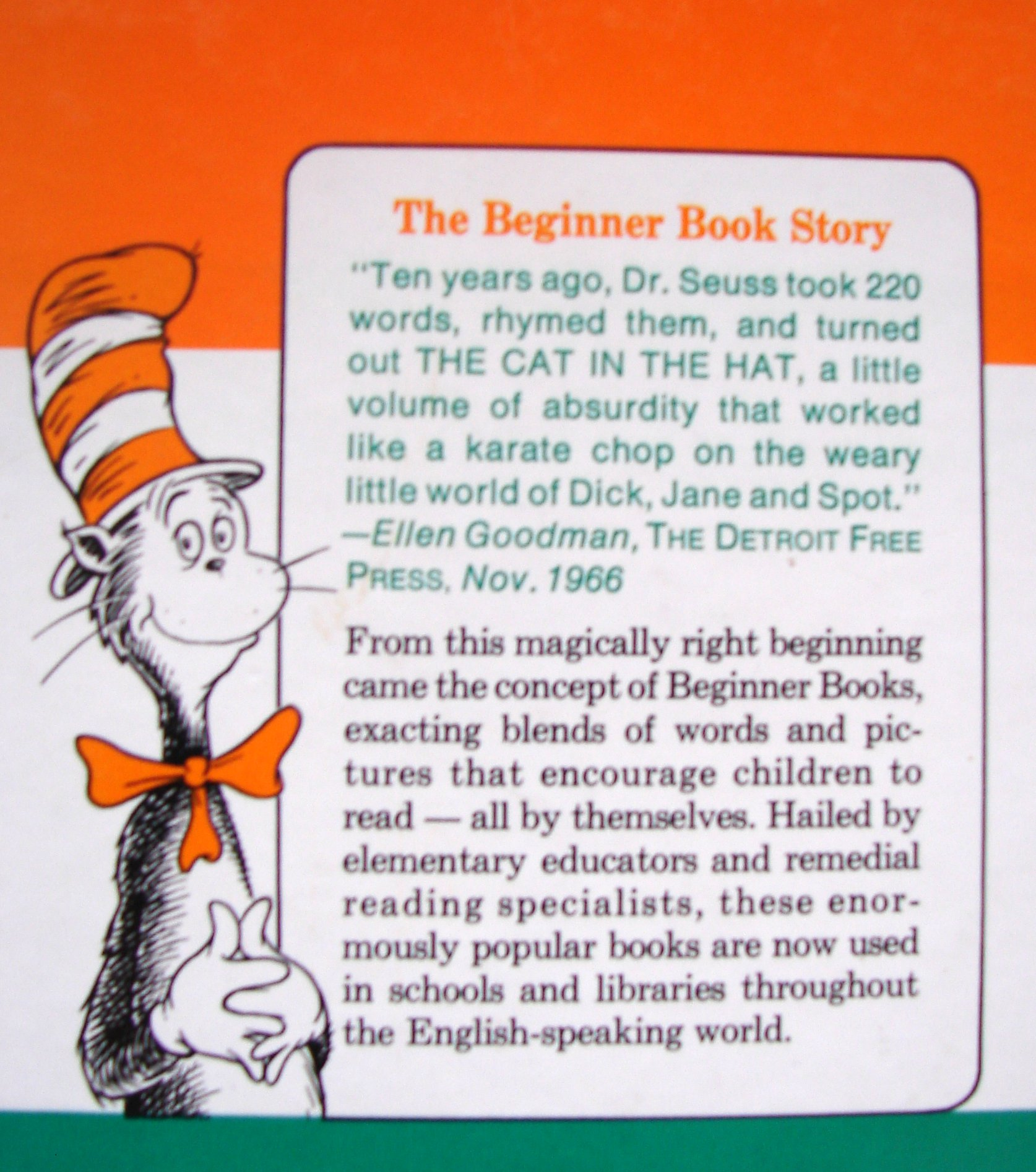 Dr Seuss: the cat in the hat character and back cover text