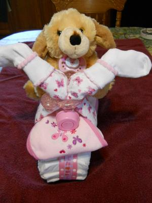 Even girls can ride :-) Girl Tricycle Diaper Cake.