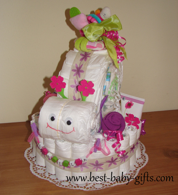 Diaper Cake Ideas For A Girl : Girl Diaper Cakes ... beautiful baby girl cakes made of ...