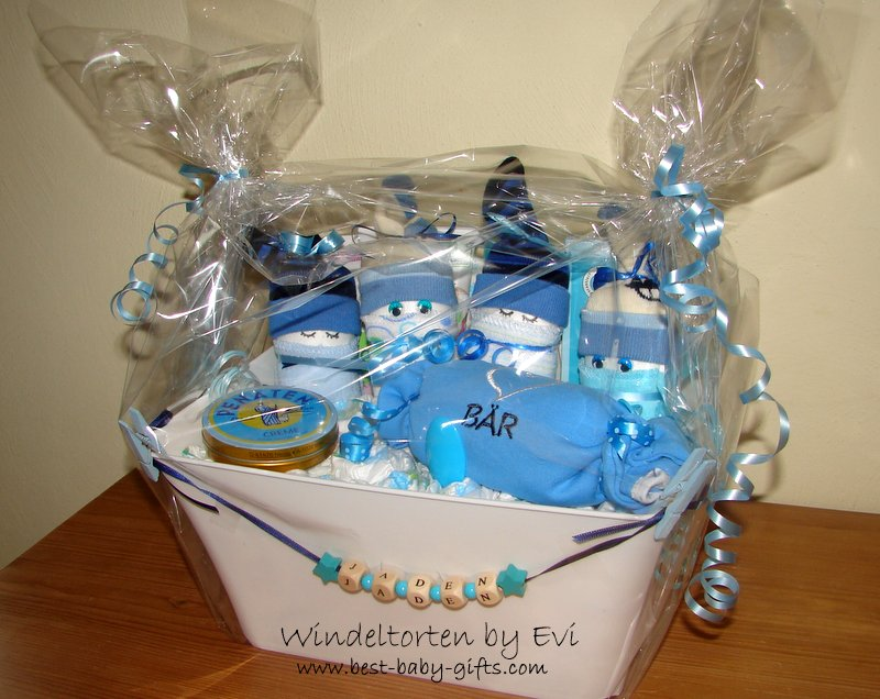 Homemade baby shower gifts special and always appreciated personalized boy baby gift basket negle Gallery
