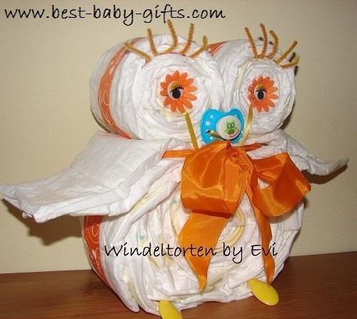 Step By Step Owl Diaper Cake