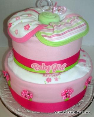 'Just Arrived' Baby Girl Diaper Cake