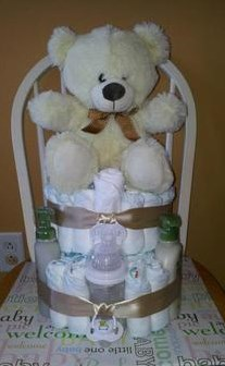 Kitty and Bear Diaper Cakes.
