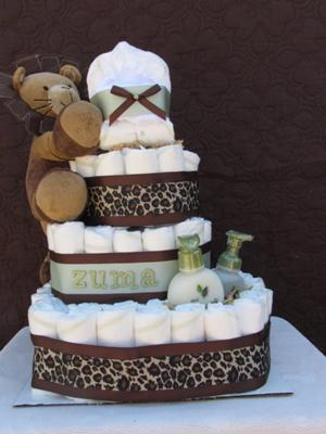 4-Tier Safari Diaper Cake