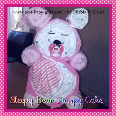 sleepy teddybear nappy cake