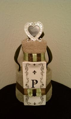 Bridal Shower Towel Cake (with items from the bride's registry)