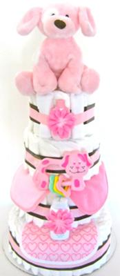 Pink Puppy Diaper Cake
