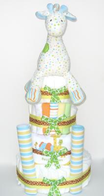 Polka Dot Giraffe Diaper Cake