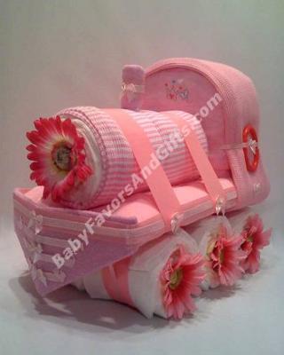 Train Diaper Cakes from BabyFavorsAndGifts.com
