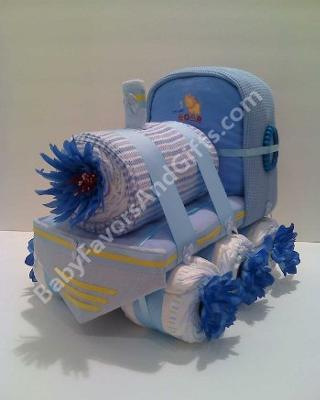 Blue Train Diaper Cake