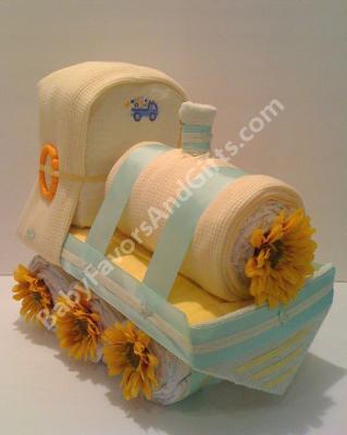 Yellow Natural Train Diaper Cake