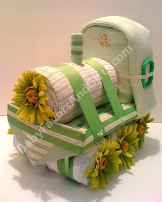 Green Train Diaper Cake