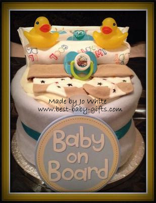 baby boy 1 tier nappy cake 'baby on board'