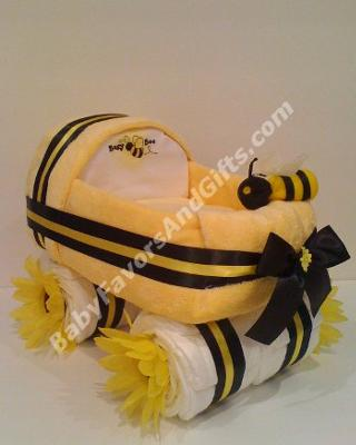 Busy-Bee Baby Carriage Diaper Cake