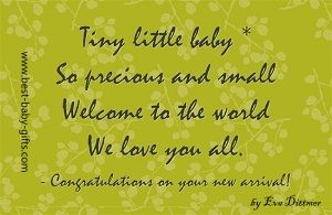 green background with tree branches and leafs and tiny little baby poem as text