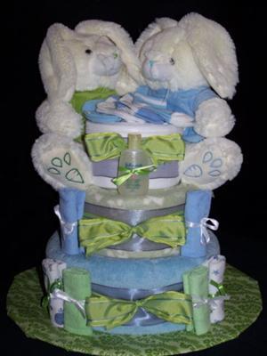 Bunny Diaper Cake - Twins