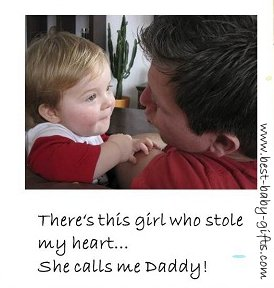 dad and baby daughter making fun with daddy & girl quote
