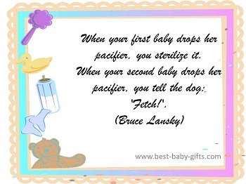 painted template with baby items and funny baby quote about pacifiers