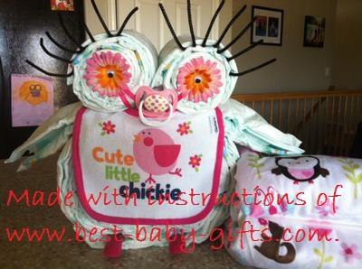 Girl Owl Diaper Cake