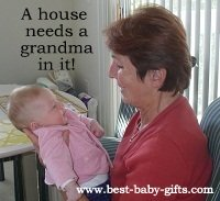 grandmother proudly holding her girl grandchild with text: a house needs a grandma in it!
