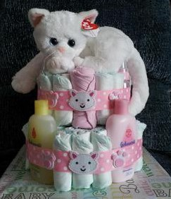Pink Kitty Themed Diaper Cake